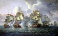 HMS Mediator Engaging French and American Vessels, 11-12 December 1782 painting reproduction, Thomas Luny
