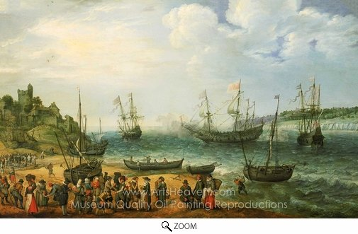 Adam Willaerts, HMS Prince Royal and Other Shipping in an Estuary oil painting reproduction