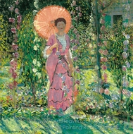 Hollyhocks painting reproduction, Frederick Carl Frieseke