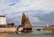Honfleur, the Port painting reproduction, Eugene-Louis Boudin