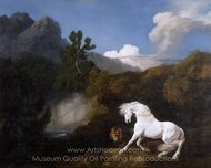 Horse Frightened by a Lion painting reproduction, George Stubbs
