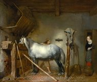 Horse Stable painting reproduction, Gerard Ter Borch