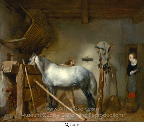 Gerard Ter Borch, Horse Stable oil painting reproduction