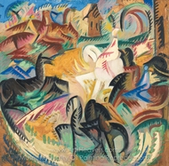 Horses painting reproduction, Alice Bailly