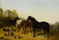 Horses and Chickens painting reproduction, John Frederick Herring Sr.
