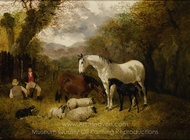 Horses and Sheep in a Stable Yard painting reproduction, John Frederick Herring Sr.