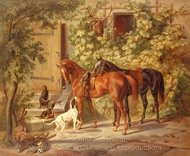 Horses at the Porch painting reproduction, Albrecht Adam