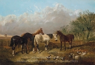 Horses by a Stream painting reproduction, John Frederick Herring Sr.