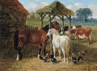 Horses, Cows and Chickens in a Farmyard painting reproduction, John Frederick Herring Sr.