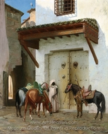 Horses Held by a Slave (The Stop) painting reproduction, Jean-Leon Gerome