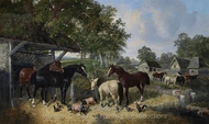 Horses, Pigs and Chickens in a Farmyard painting reproduction, John Frederick Herring Sr.