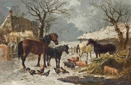 Horses, Pigs and Chickens in the Yard on a Snowy Day painting reproduction, John Frederick Herring Sr.