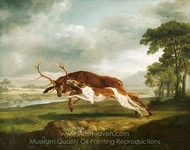 Hound Coursing a Stag painting reproduction, George Stubbs
