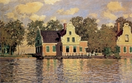 Houses Along the Zaan at Zaandam painting reproduction, Claude Monet