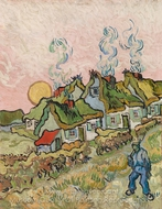 Houses and Figure painting reproduction, Vincent Van Gogh