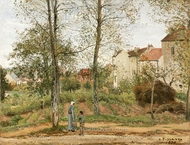 Houses at Bougival (Autumn) painting reproduction, Camille Pissarro