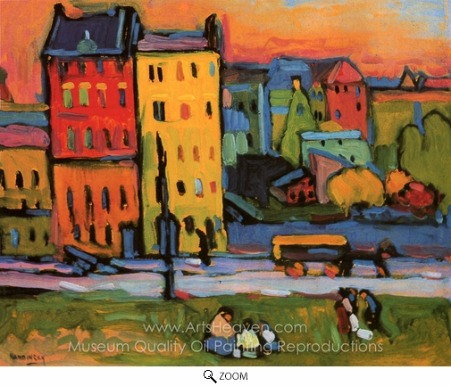 Wassily Kandinsky, Houses in Munich oil painting reproduction