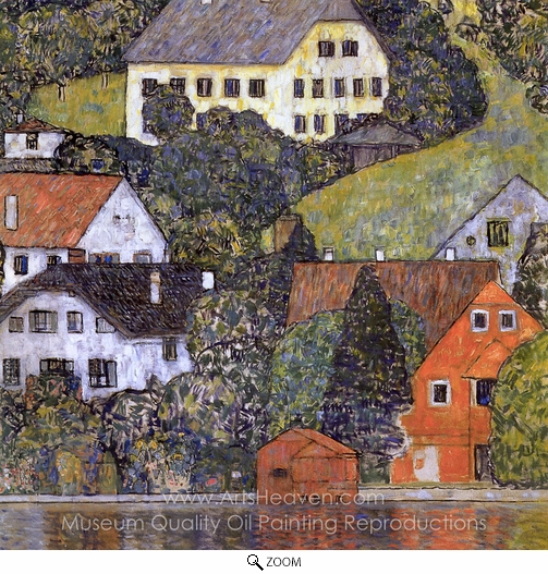 Gustav Klimt, Houses in Unterach on Lake Atter oil painting reproduction