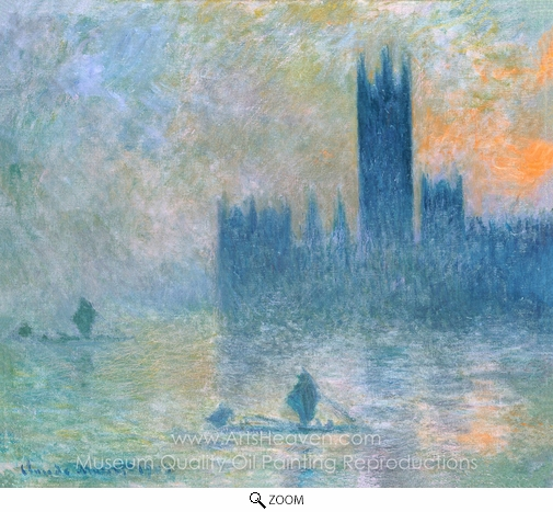Claude Monet, Houses of Parliament, Fog Effect oil painting reproduction