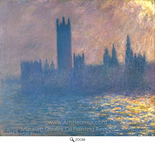 Claude Monet, Houses of Parliament, Sunlight Effect oil painting reproduction