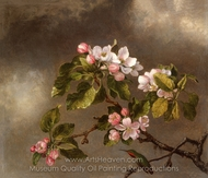 Hummingbird and Apple Blossoms painting reproduction, Martin Johnson Heade