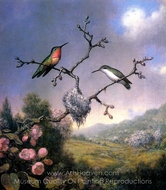 Hummingbirds and Apple Blossoms painting reproduction, Martin Johnson Heade