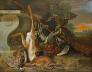 Hunting Still Life with a Hare, Partridges and Pheasants painting reproduction, Jean-Baptiste Oudry