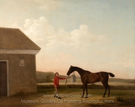 Hyaena at Newmarket with one of Jenison Shafto's Stablelads painting reproduction, George Stubbs