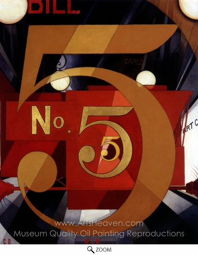 Charles Demuth, I Saw the Figure 5 in Gold oil painting reproduction