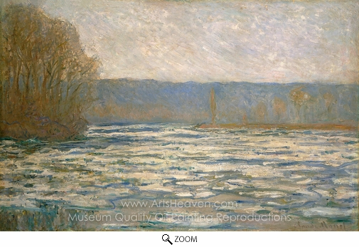 Claude Monet, Ice Breaking Up on the Seine Near Bennecourt oil painting reproduction