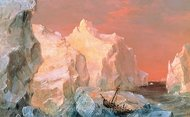Icebergs and Wreck in Sunset painting reproduction, Frederic Edwin Church