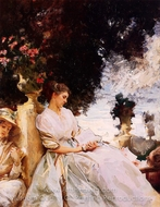 In a Garden, Corfu painting reproduction, John Singer Sargent