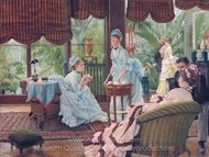 In the Conservatory painting reproduction, James Tissot