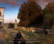 In the Park of the Villa Borghese painting reproduction, Oswald Achenbach