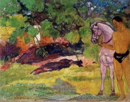 In the Vanilla Grove, Man and Horse (The Rendezvous) painting reproduction, Paul Gauguin