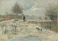 In Winter, the Roadmender painting reproduction, Jean-Francois Raffaelli