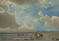 Indian Encampment painting reproduction, Albert Bierstadt