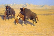 Indians Simulating Buffalo painting reproduction, Frederic Remington