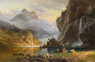 Indians Spear Fishing painting reproduction, Albert Bierstadt