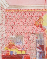 Interieur mit Rosa Tapete I painting reproduction, Edouard Vuillard
