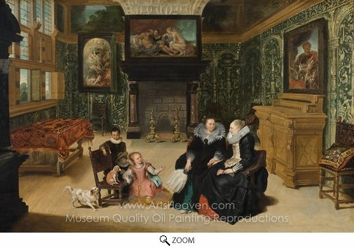 "Frans Francken, Interior, Called ""Rubens' salon"" oil painting reproduction"