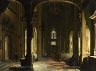 Interior of a Church at Night painting reproduction, Hendrick Van Steenwyck
