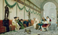 Interior of Roman Building with Figures painting reproduction, Ettore Forti