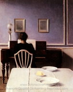 Interior with a Girl at the Clavier painting reproduction, Wilhelm Hammershoi