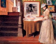 Interior, Young Woman at a Table painting reproduction, William Merritt Chase