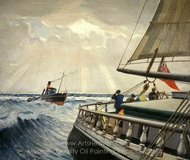 Iquique from the Stern with the Tug Warrior painting reproduction, Herbert B. J. Everett