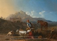 Italian Landscape with Goat Star painting reproduction, Karel Dujardin