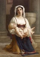 Italian Peasant Kneeling with Child painting reproduction, William A. Bouguereau