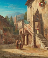 Italian Town with Figures painting reproduction, Gustaf Wilhelm Palm