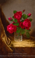 Jacqueminot Roses painting reproduction, Martin Johnson Heade